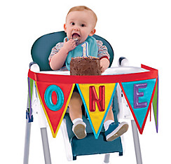 Rainbow 1st Birthday High Chair Pennant Banner