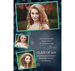 Custom Glitter Mint Frames and Dots Graduation Photo Announcement