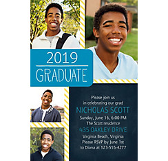 Custom Blue & Yellow Stripes Graduation Collage Photo Invitation