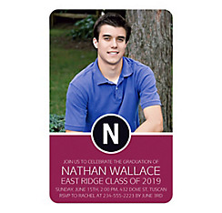 Custom Berry Block Initial Graduation Photo Invitation