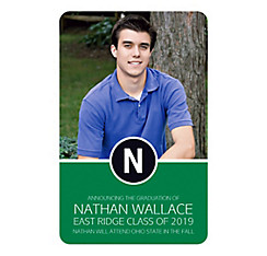 Custom Green Block Initial Graduation Photo Announcement