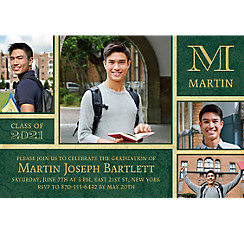 Custom Gold & Green Textured Graduation Collage Photo Invitation