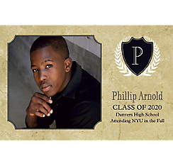 Custom Gold Stone Initial Graduation Photo Announcement