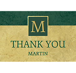 Custom Gold & Green Textured Graduation Thank You Note