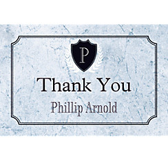 Custom Silver Stone Initial Graduation Thank You Note