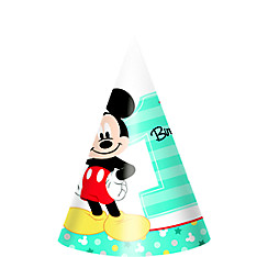 1st Birthday Mickey Mouse Party Hats 8ct