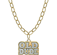 Old Dude Pendant Chain Link Necklace