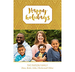 Custom Gold Happy Holidays Photo Card