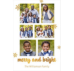 Custom White Merry & Bright Collage Photo Card