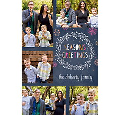 Custom Chalkboard & Wreath Collage Photo Card
