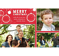 Custom Red Ornaments Christmas Collage Photo Card