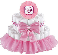 Pink It's a Girl Baby Shower Diaper Cake Decorating Kit