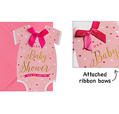 Premium Pink Snapsuit Baby Shower Invitations 8ct