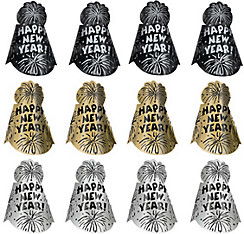 Black, Gold & Silver New Year's Party Hats 12ct