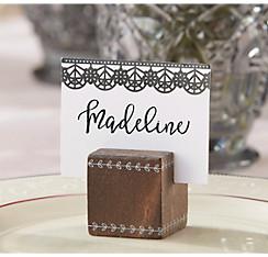 Quick Shop Black Lace Wood Cube Place Card Holders