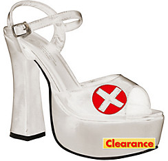 Sexy Nurse White Peep-Toe Platform Shoes