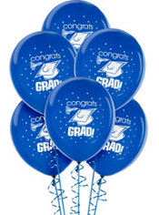 Royal Blue Latex Graduation Balloons 15ct