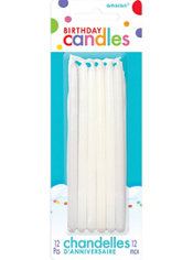 Tall White Birthday Candles 12ct