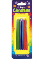 Multicolored Mini Taper Birthday Candles 5in 12ct