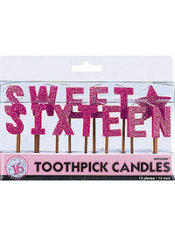 Sweet 16 Sparkle Toothpick Birthday Candles 13ct