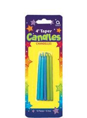Blue and Green Mini Taper Birthday Candles 4in 10ct