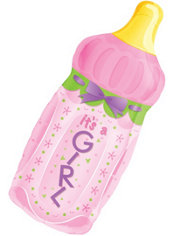 Foil It's a Girl Baby Bottle Baby Shower Balloon 31in