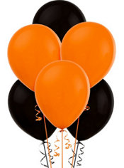 Orange and Black Halloween Latex Balloons 12in 20ct
