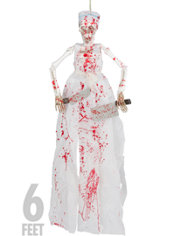 Hanging Bloody Butcher Skeleton 6ft