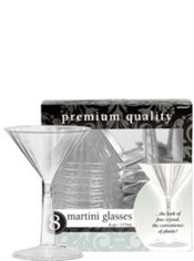 CLEAR Premium Plastic Martini Glasses 8ct