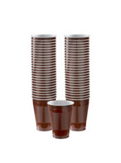 Chocolate Brown Plastic Cups 50ct