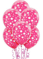 Latex Bright Pink Star Printed Balloons 12in 6ct