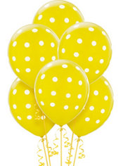 Yellow Polka Dot Balloons 6ct