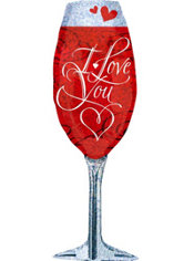 Holographic Love You Champagne Glass Valentines Day Balloon 38in