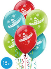 Assorted Sombrero Balloons 15ct