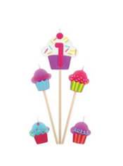 Number 1 Birthday Candle and Cupcakes 5ct