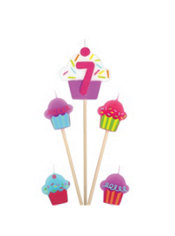 Number 7 Birthday Candle and Cupcakes 5ct