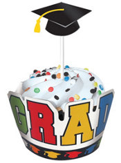 Rainbow Graduation Cupcake Wraps with Toppers for 12