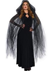 Dark Temptress Black Hooded Cape