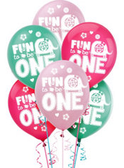 Wild at One Girl's 1st Birthday Balloons 15ct
