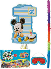 Pull String 1st Birthday Mickey Mouse Pinata Kit