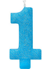 Giant Glitter Blue Number 1 Birthday Candle