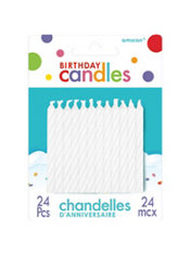White Candy Stripe Birthday Candles 2in 24ct