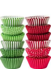 Christmas Polka Dot & Stripe Mini Baking Cups 300ct