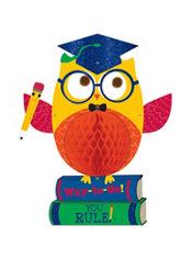 Glitter Graduation Owl Honeycomb Ball - Schoolhouse Chalkboard Graduation