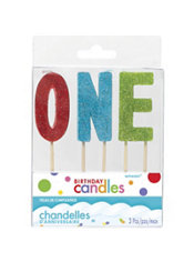 Glitter One 1st Birthday Toothpick Candles 3ct