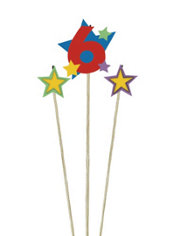 Number 6 & Star Candle Picks 3ct