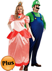 Deluxe Plus Size Princess Peach and Deluxe Plus Size Luigi Super Mario Brothers Couples Costumes