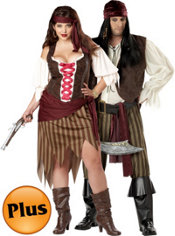 Plus Size Buccaneer Beauty Pirate and Plus Size Rogue Pirate Couples Costumes