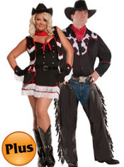 Plus Size Cowboy and Plus Size Dirty Desperado Cowgirl Couples Costumes