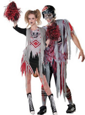 Zombie Cheerleader and Football Zombie Couples Costumes